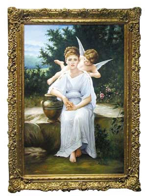 4465 One of Set of Four Large Oil Paintings on Canvas in Gilt Frames.
