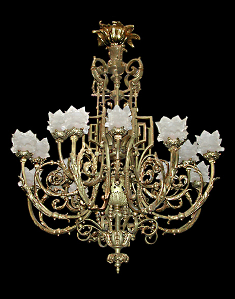 56.3092 French Bronze Neo-Classical Chandelier c. 1880