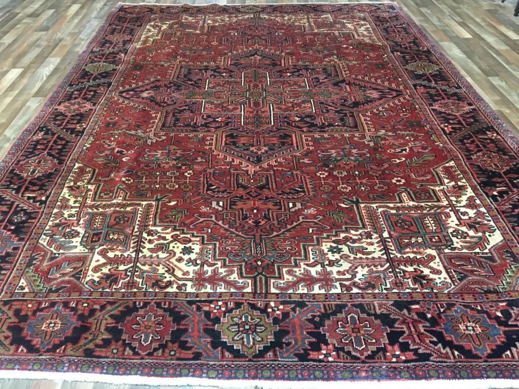 Vintage Handmade Very Fine Heriz Red Wool Oriental Rug 8'2 x 11'4