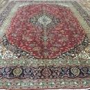 Vintage Handmade Kashan Navy Wool Oriental Rug 9'10 x 13'1