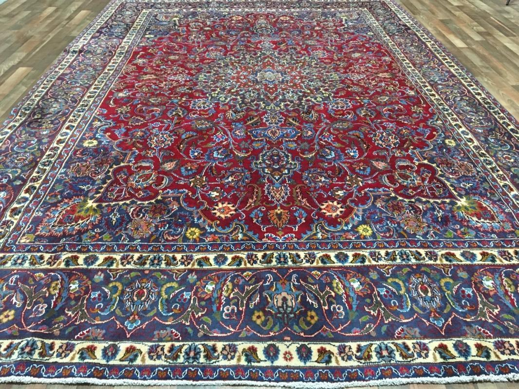 Hand Knotted Mashad Red Wool Oriental Area Rug 9'3 x 13'2
