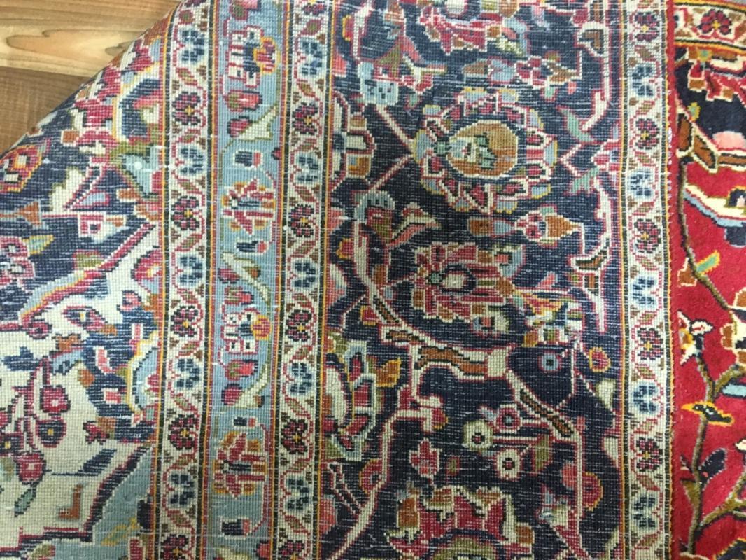 Vintage Handmade Kashan Navy Wool Oriental Rug 8'10 x 12'10