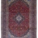 Vintage Handmade Very Fine Kashan Blue Wool Oriental Rug 9'6 x 13'
