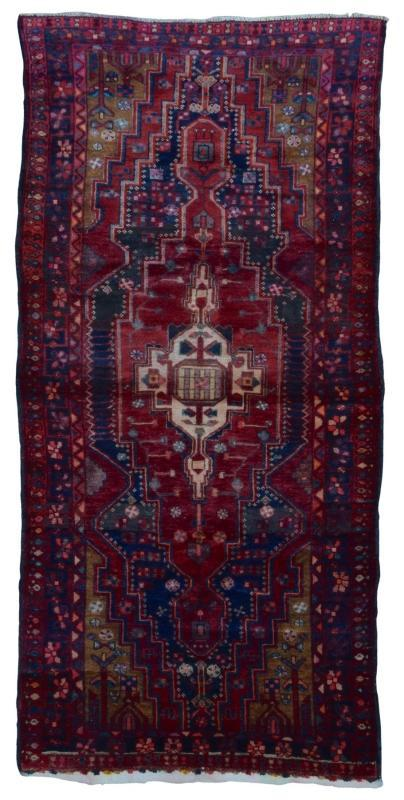 Handmade Vintage Persian Hamadan Red Oriental Rug 4'7 x 9'7
