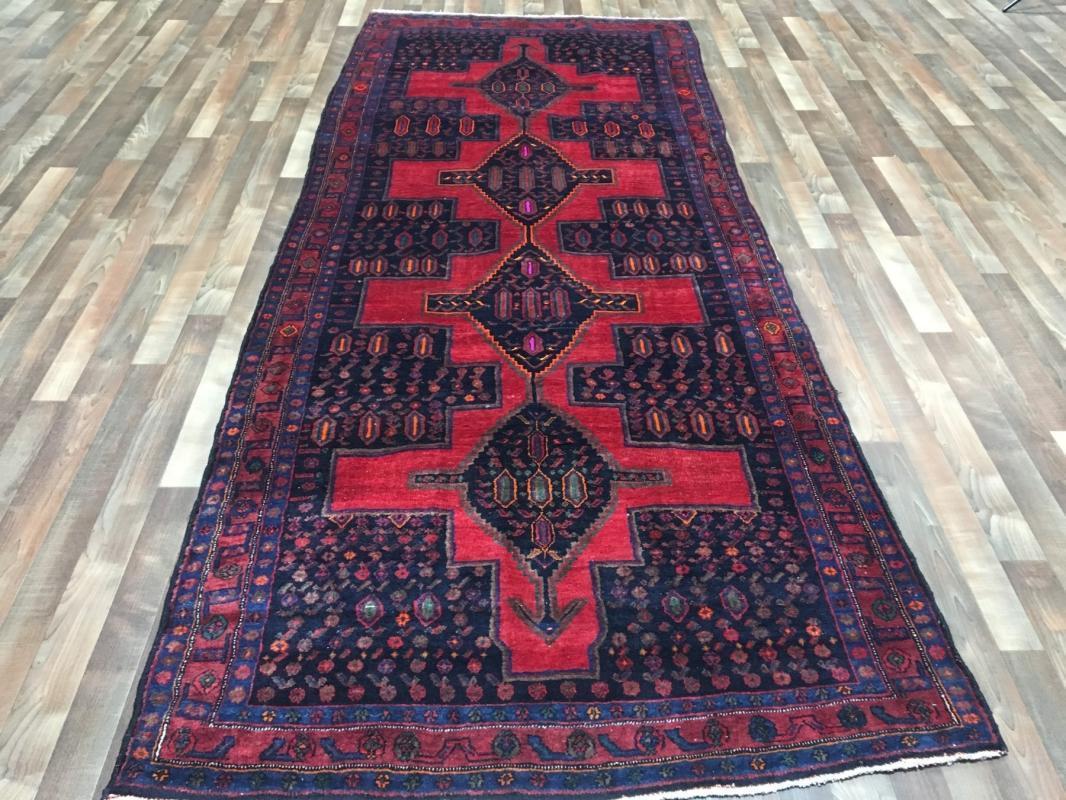 Handmade Vintage Persian Hamadan Red & Black Oriental Runner 4'9 x 11'6