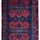 Vintage Handmade Persian Hamadan Red & Navy Oriental Runner 4'5 x 10'1