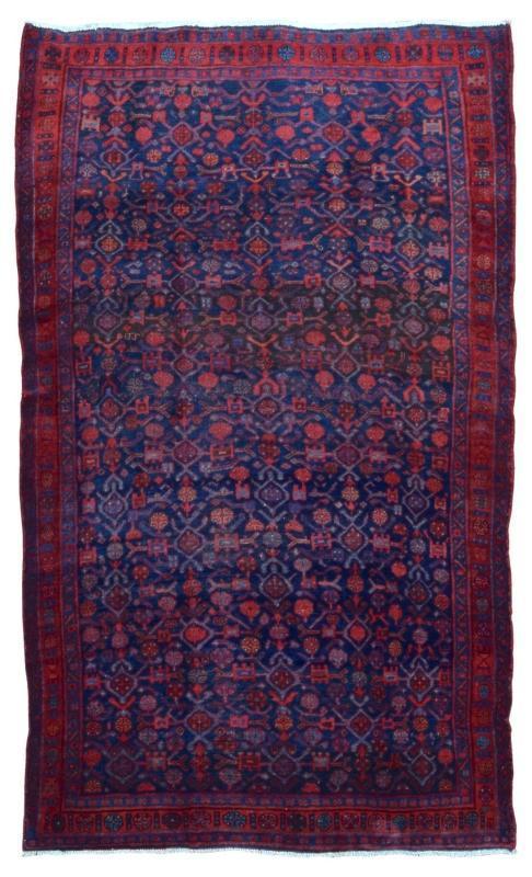 Handmade Vintage Persian Hamadan Red & Black Oriental Runner 4'7 x 7'5