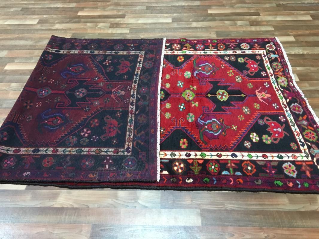 Handmade Vintage Persian Hamadan Red & Black Oriental Runner 4'9 x 10'