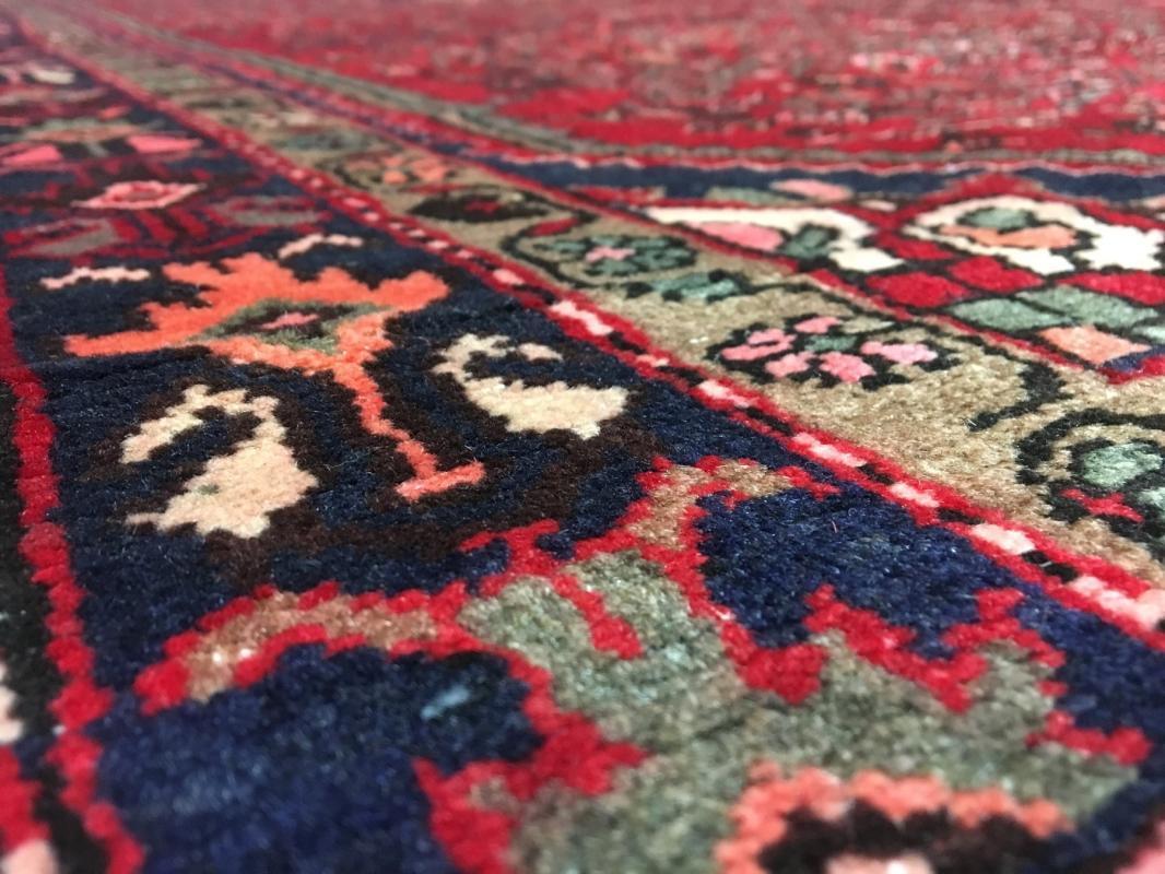 Handmade Vintage Persian Hamadan Red & Black Oriental Runner 5'4 x 10'4