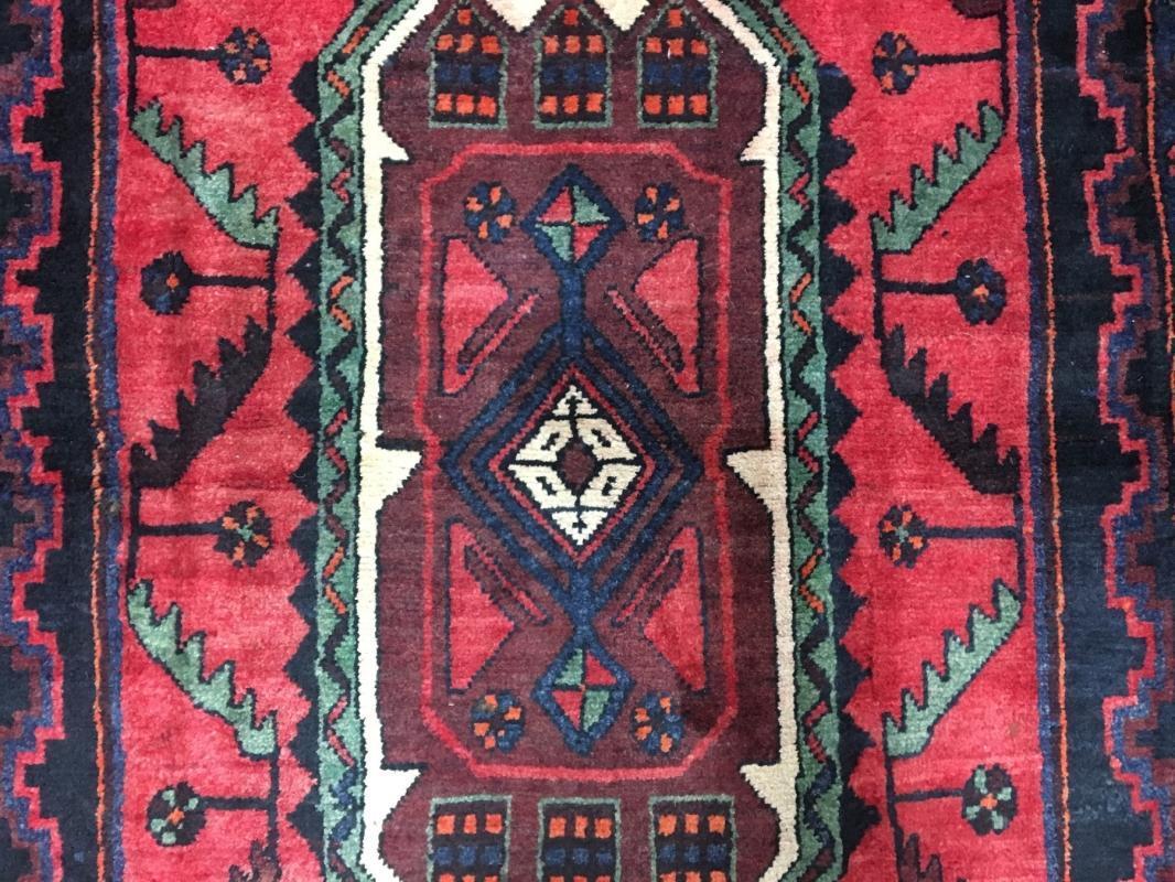 Handmade Vintage Persian Hamadan Red & Black Oriental Runner 4'2 x 10'10