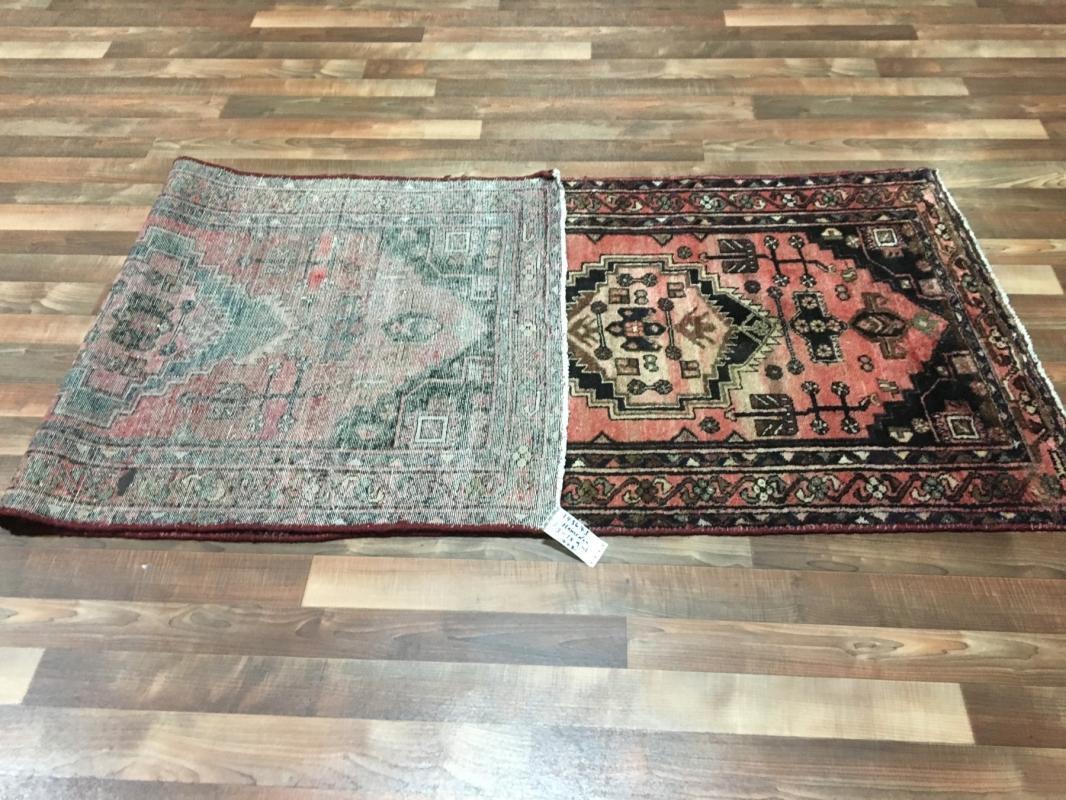 Handmade Vintage Persian Hamadan Red & Black Oriental Runner 3'1 x 9'1