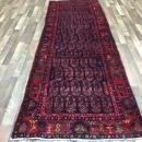 Handmade Vintage Hamadan Red Wool Oriental Runner 3'7 x 10'4