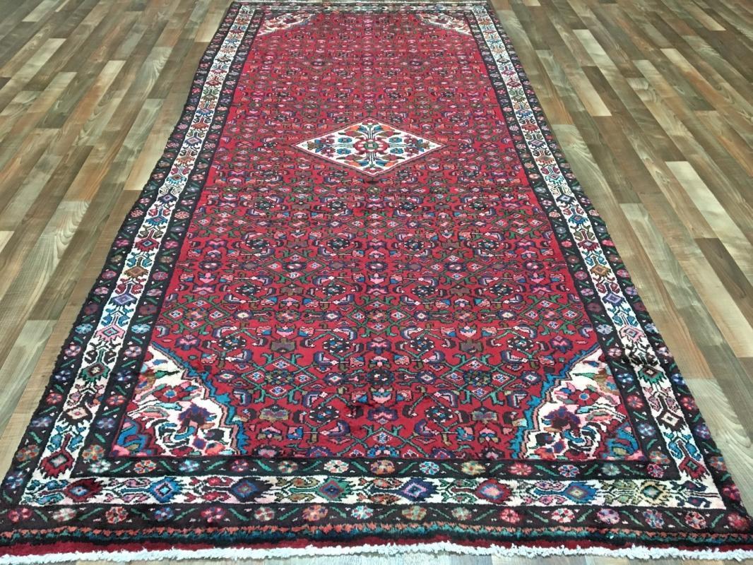 Vintage Hamadan Red & Beige Wool Oriental Runner 5'3 x 10'10