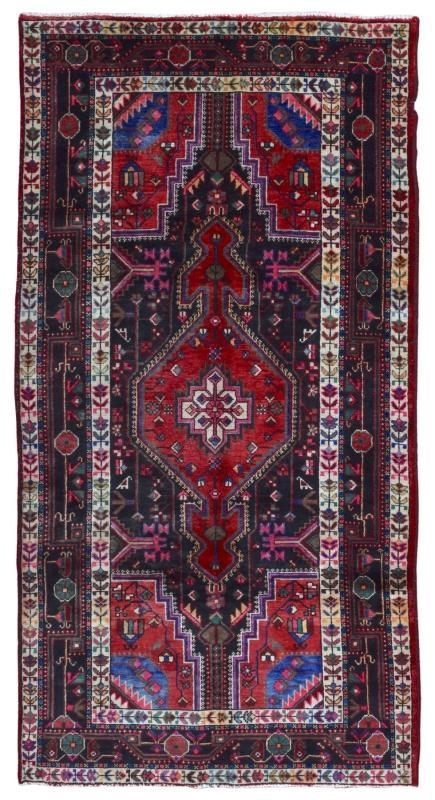 Vintage Hamadan Red & Black Wool Oriental Runner 5'2 x 9'10