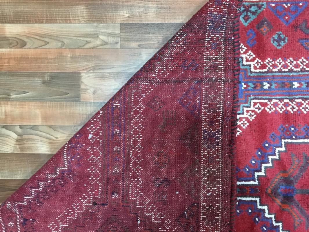 Handmade Vintage Hamadan Red Wool Oriental Rug 4'11 x 8'10