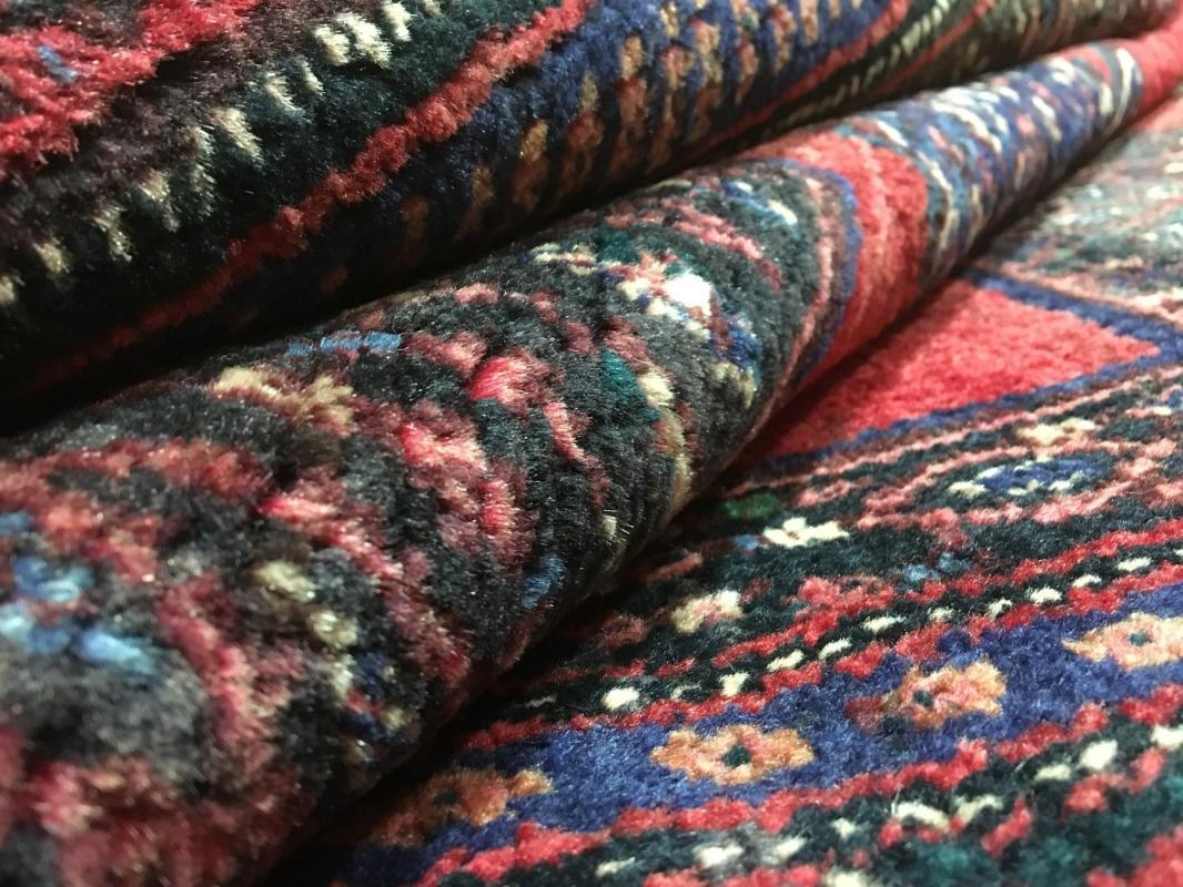 Handmade Vintage Hamadan Red Wool Oriental Rug 3'9 x 7'9