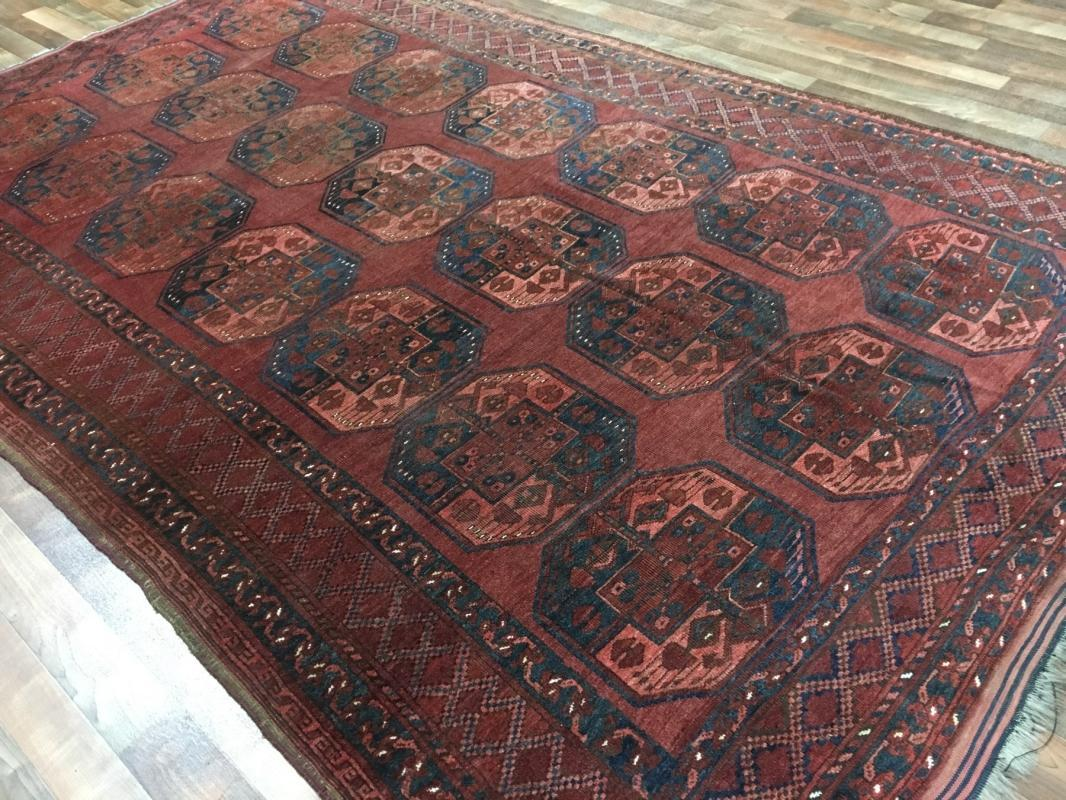 Vintage Handmade Turkmen Bukhara Red Wool Oriental Rug 6'8 x 10'4