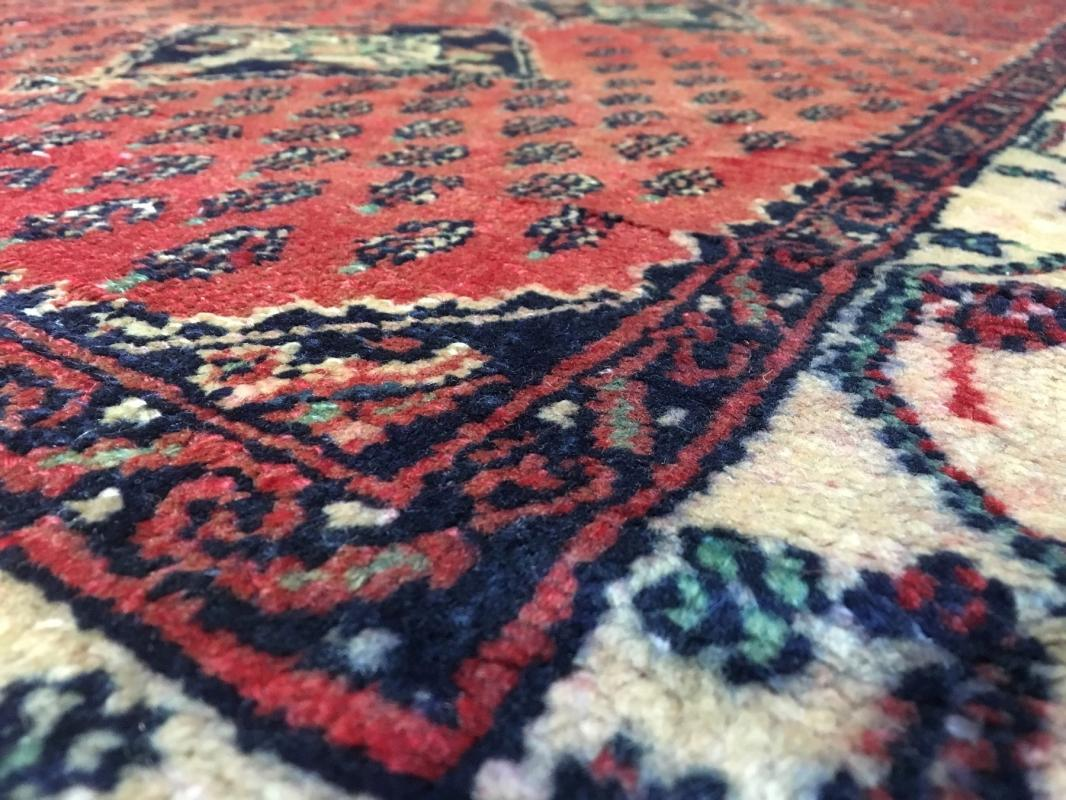 Vintage Handmade Hamadan Red Wool Runner Rug 3'3 x 7'9