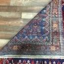 Handmade Vintage Hamadan Red & Blue Wool Runner Rug 3'10 x 10'4