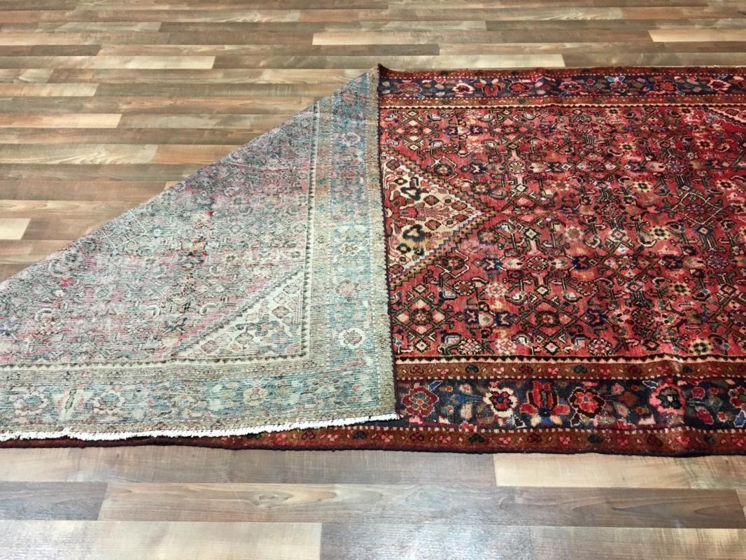 Handmade Vintage Persian Hamadan Red Oriental Rug 5'1 x 10'8