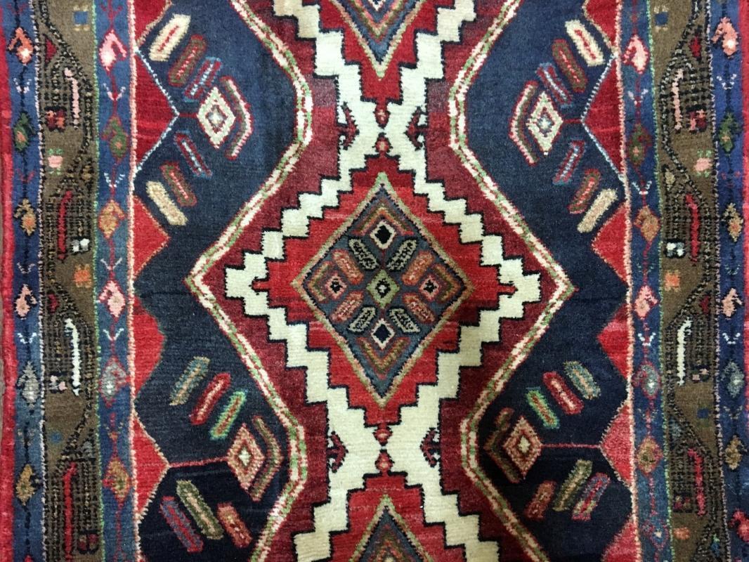 Handmade Vintage Persian Hamadan Red Oriental Wool Runner 2'11 x 9'10