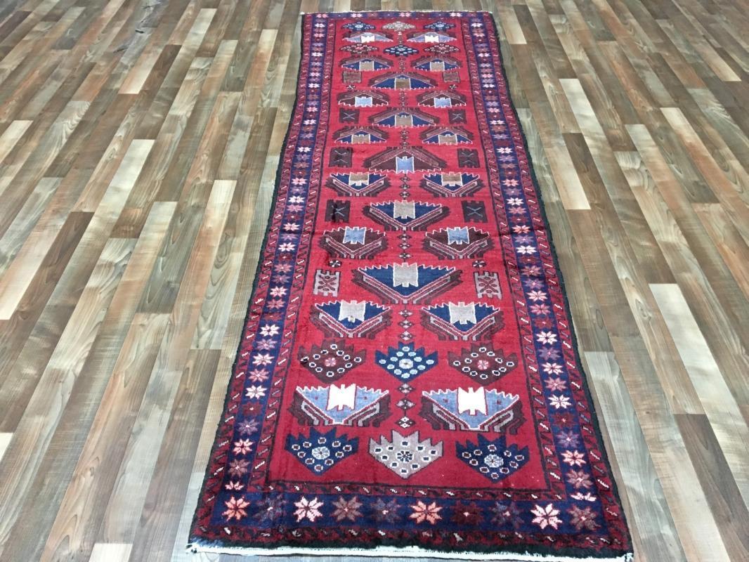 Handmade Vintage Persian Hamadan Red Oriental Runner 3'1 x 9'8