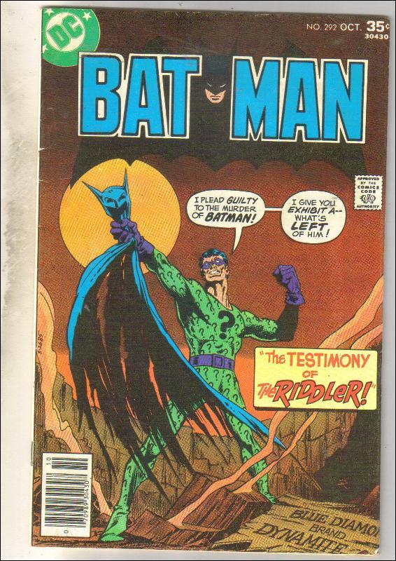 Batman #292 comic book very good/fine 5.0