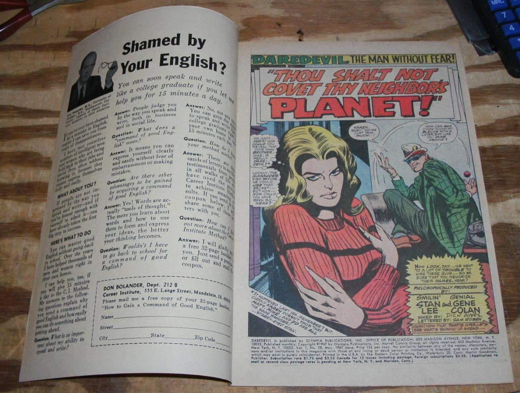 very fine 8.0 Daredevil comic book  #28 (1964 series)