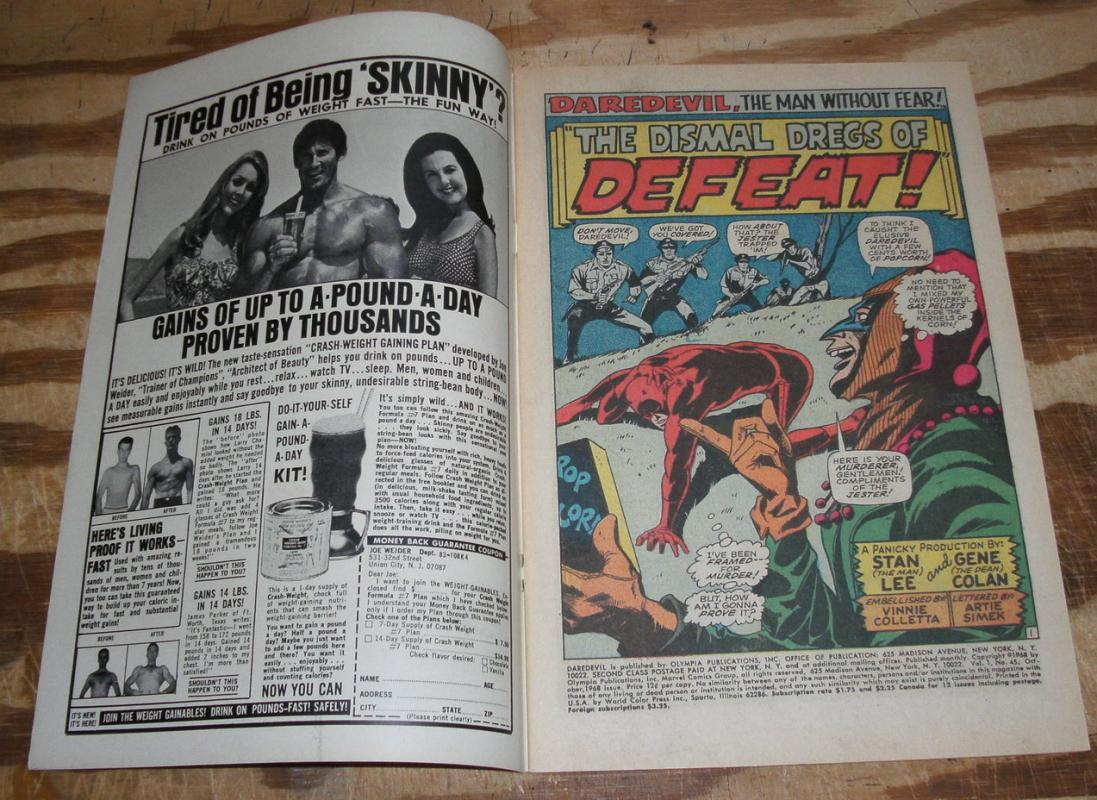 Daredevil #45  very fine with letters page clipped