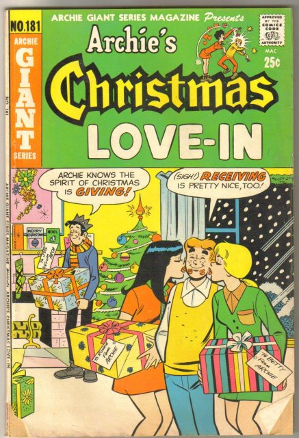 Archie Giant #181 Archie's Christmas Love-in  comic book very good 4.0