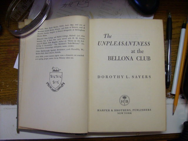 The Unpleasantness at the Bellona Club 1956 hardcover