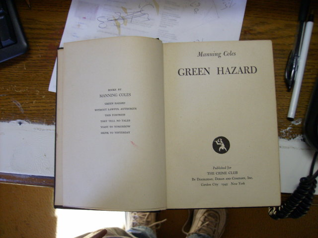 Green Hazard by Manning Coles first edition 1945