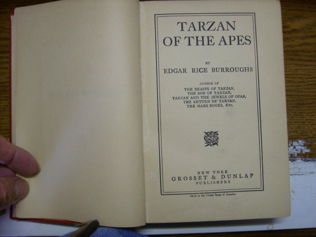 Tarzan of the Apes Grosset & Dunlap NY 1914