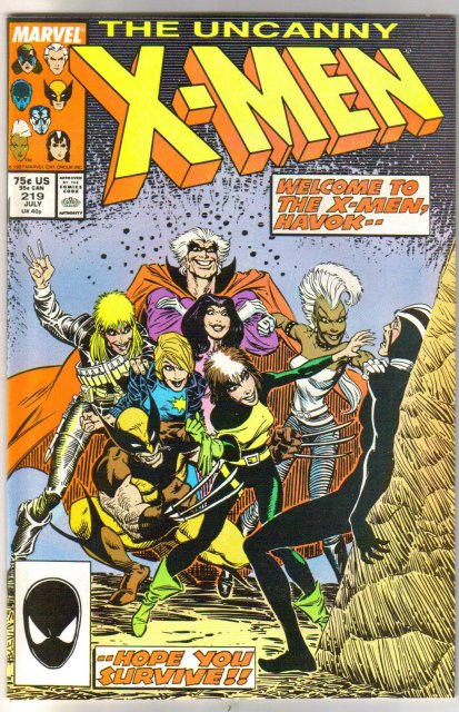 Uncanny X-Men #219 comic book very fine/near mint 9.0