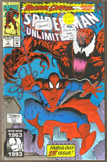 Maximum Carnage 14 issue Spider-man crossover collection complete and near mint or better