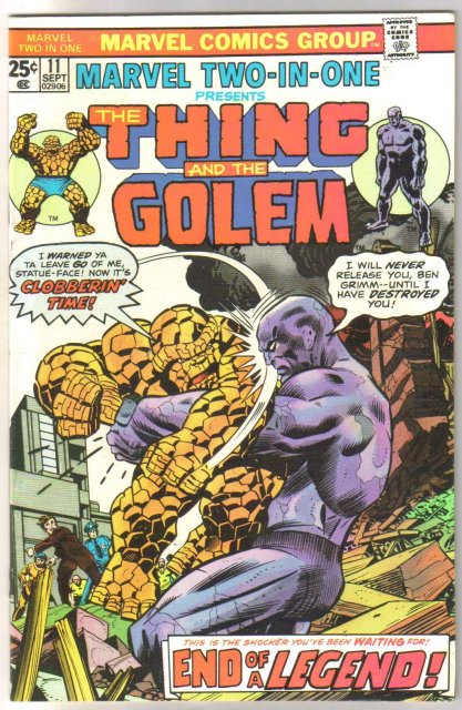 Marvel Two-In-One #11 featuring The Thing and The Golem comic book near mint 9.4