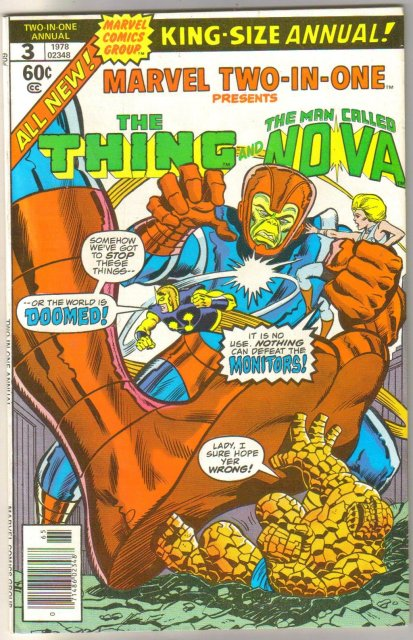 Marvel Two-In-One Annual #3 featuring The Thing and The Man Called Nova comic book near mint 9.4