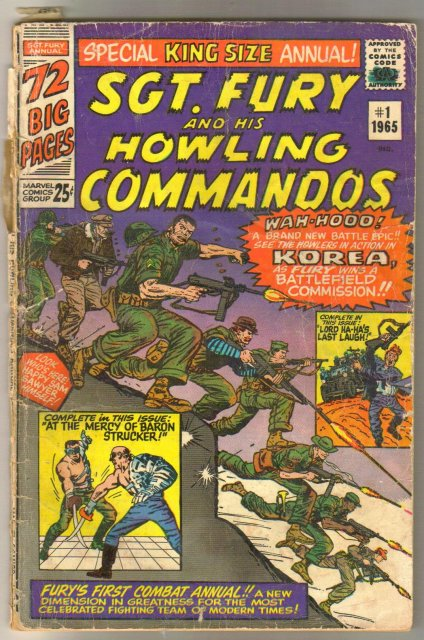 Sgt. Fury and His Howling Commandos king size annual #1 comic book poor 1.0