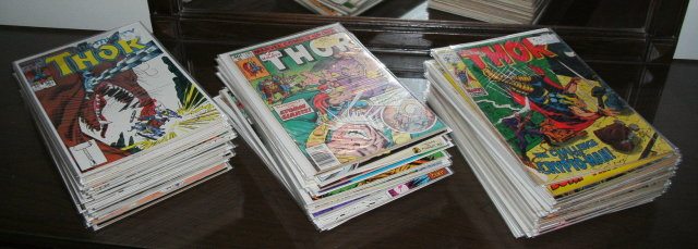89 different issues of The Mighty Thor comic books mostly near mint to mint