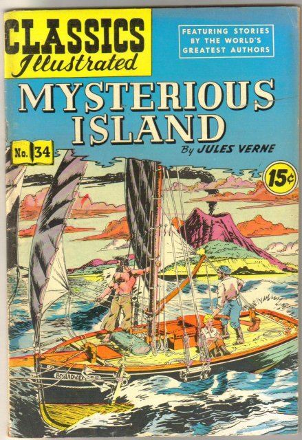Classic Illustrated #34 hrn#117 Mysterious Island by Jules Verne comic book fine 6.0