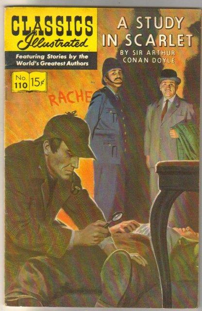 Classic Illustrated #110 hrn#165 A Study in Scarlett by Sir Arthur Conan Doyle comic book fine/very fine 7.0