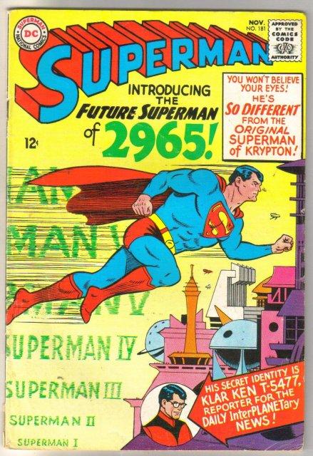 Superman #181 comic book very good 4.0