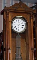Walnut Jewelers Regulator Clock with Porcelain Dial