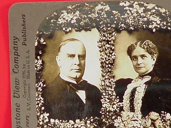 Pres., & Mrs. McKinley 1896 Stereo View Card