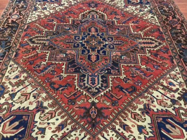 Semi Antique Persian Square Heriz Rug-4494
