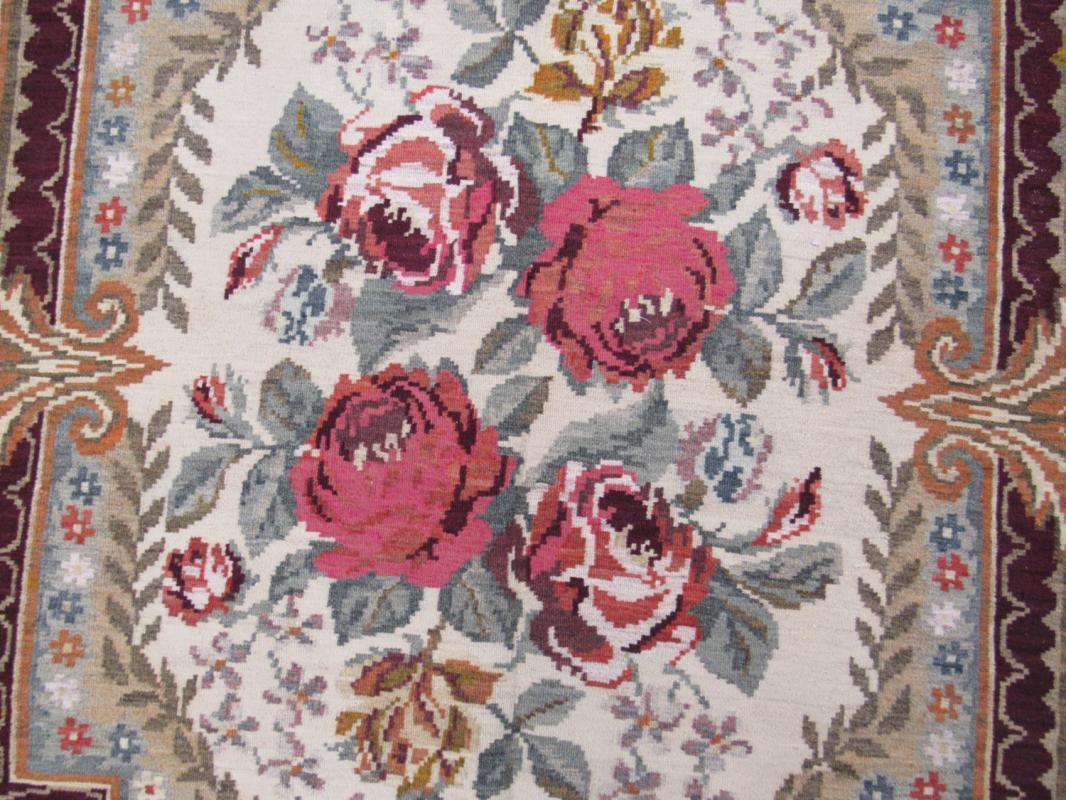 Antique European Floral design Kilim-1614