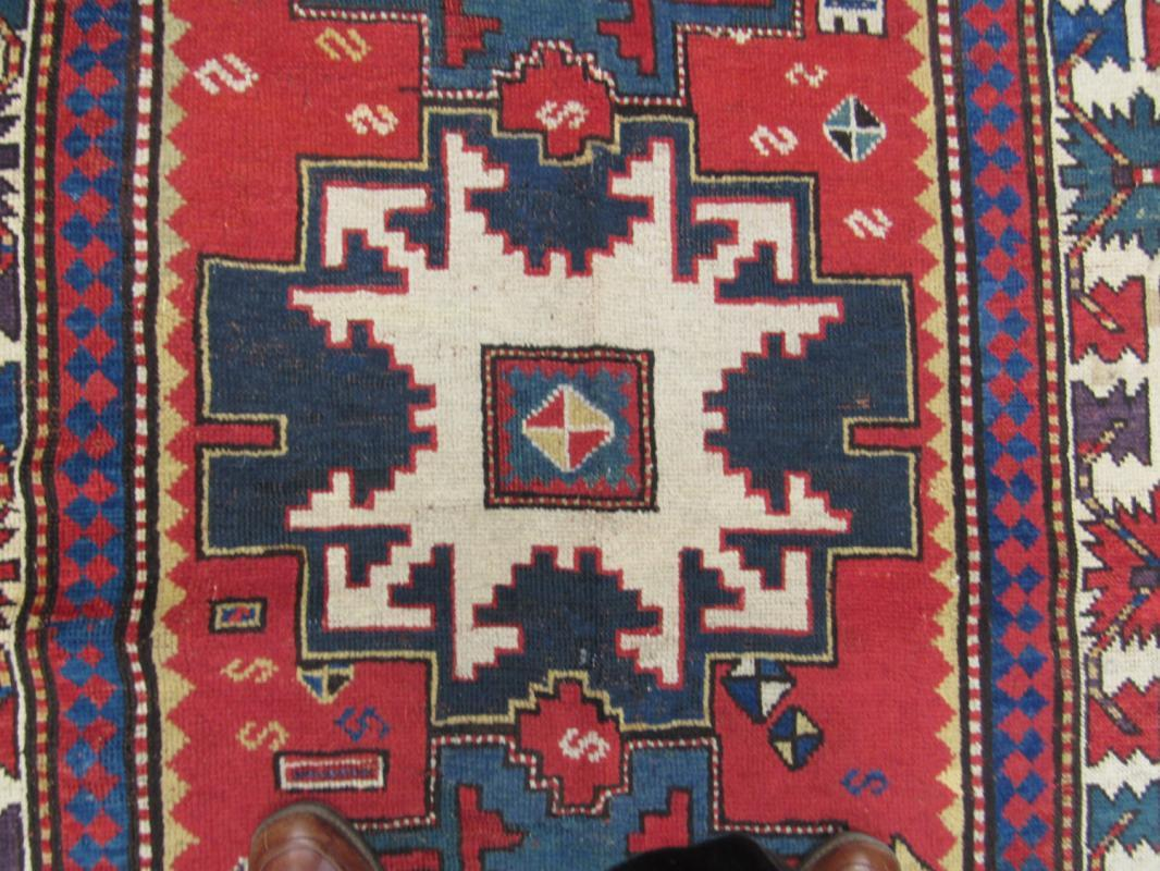 19th C Lesghi Star Caucasian Kazak Caucasian Rug-2517