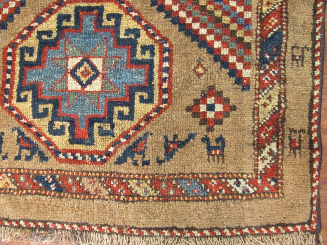 Antique Persian Kurdish Tribal Camel Hair Runner-3653
