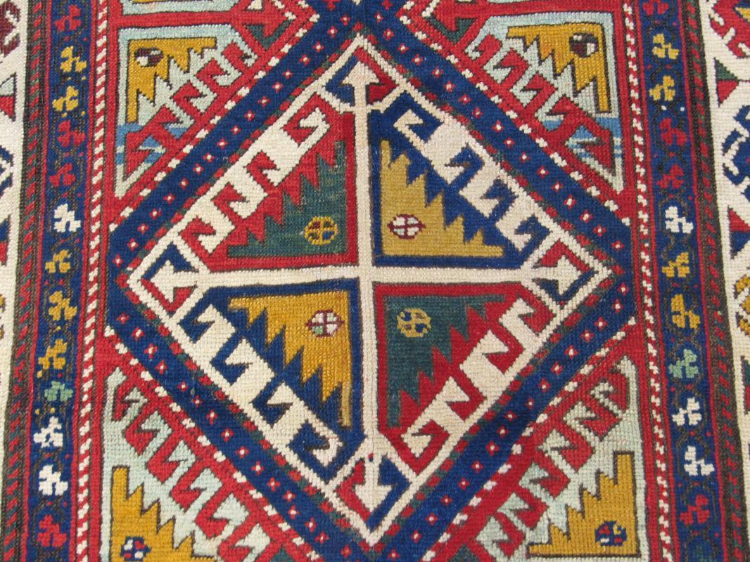 19th C Colorful Gendje Caucasian Rug-2041