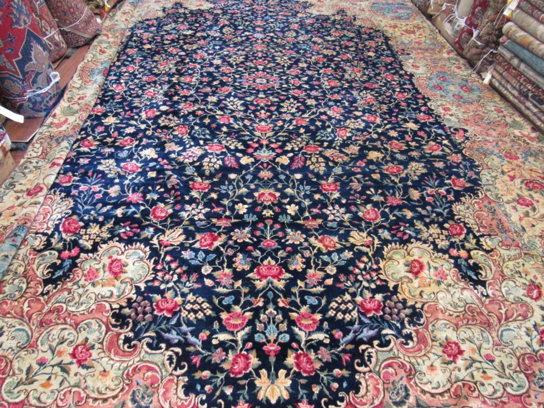 Fine quality antique Persian over-Size raver Kirman Rug-2196
